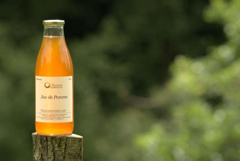 Notre jus de pomme, produit à partir des pommes du verger